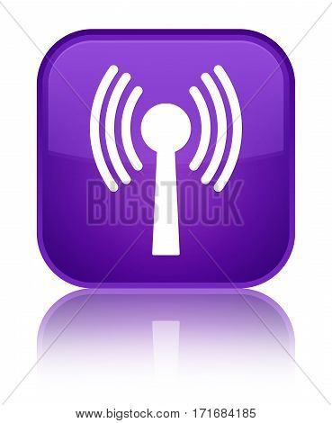 Wlan Network Icon Shiny Purple Square Button