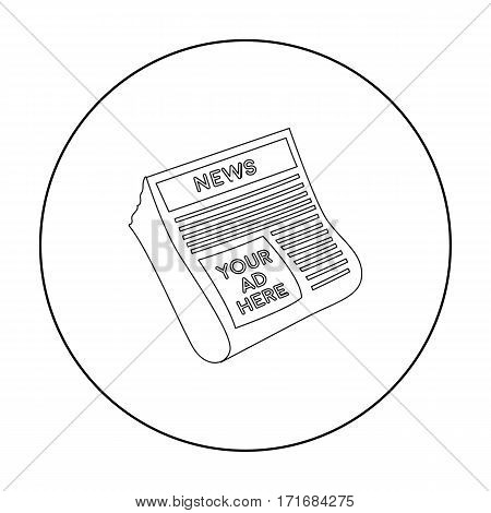 Classified ads in newspaper icon in outline style isolated on white background. Advertising symbol vector illustration.