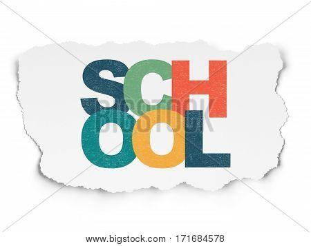 Studying concept: Painted multicolor text School on Torn Paper background