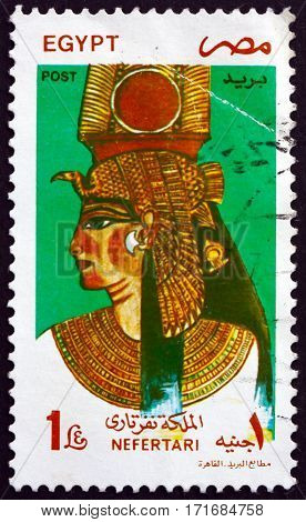 EGYPT - CIRCA 1997: a stamp printed in Egypt shows Queen Nefertari Meritmut the first of the Great Royal Wives of Ramsesses the Great circa 1997