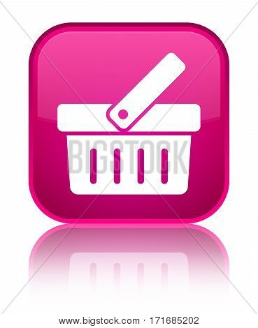 Shopping Cart Icon Shiny Pink Square Button