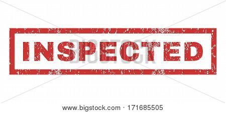 Inspected text rubber seal stamp watermark. Tag inside rectangular shape with grunge design and dust texture. Horizontal vector red ink sign on a white background.