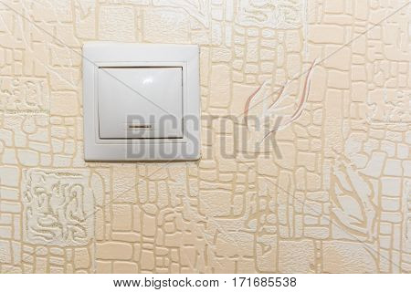 Electrical white and red rocker light switch