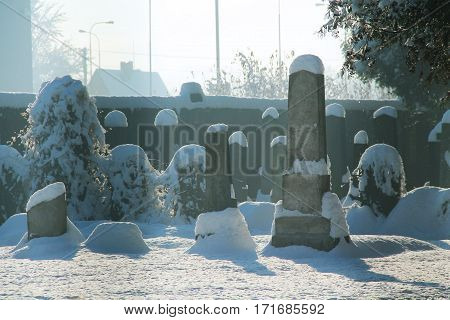 tombstones at the old jewish cemetery in the misty morning in winter, Frydek-Mistek, Czech Republic