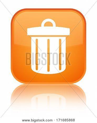 Recycle Bin Icon Shiny Orange Square Button