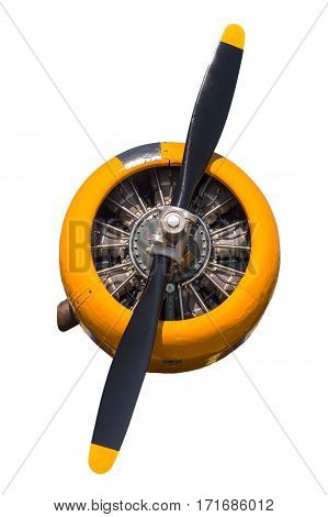 Yellow AT-6 Texan Engine and Propeller - isolated on white