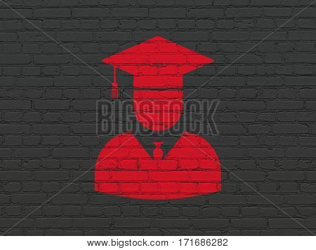 Studying concept: Painted red Student icon on Black Brick wall background