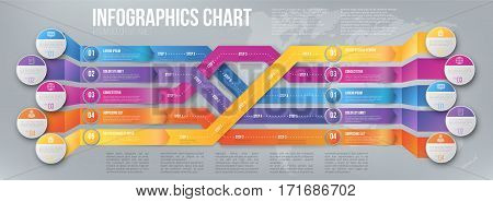 3D infographics style colored arrows, plexiform roadmap paths layout template with steps pointed to different ways and goals. Vector illustration