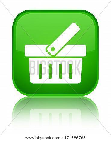 Shopping Cart Icon Shiny Green Square Button