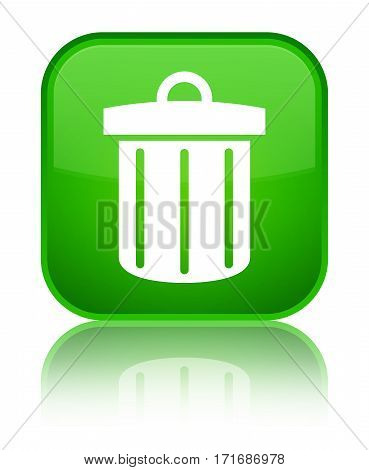 Recycle Bin Icon Shiny Green Square Button