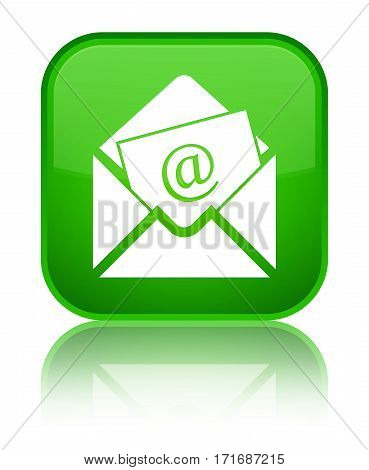 Newsletter Email Icon Shiny Green Square Button
