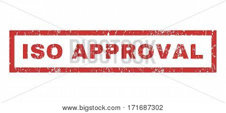 ISO Approval text rubber seal stamp watermark. Tag inside rectangular shape with grunge design and scratched texture. Horizontal vector red ink sign on a white background.
