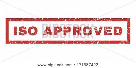 ISO Approved text rubber seal stamp watermark. Tag inside rectangular shape with grunge design and unclean texture. Horizontal vector red ink sign on a white background.