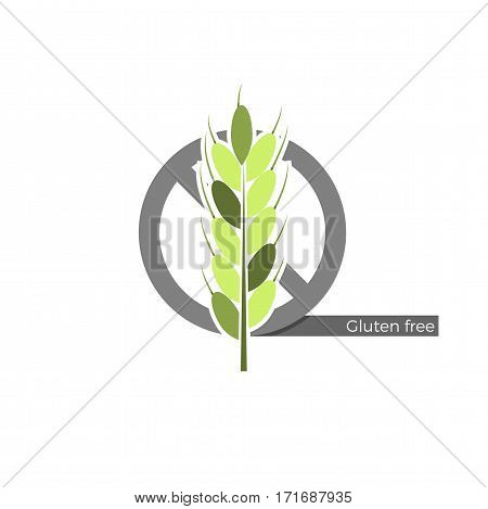 Gluten free food or drink label. Vector illustration in flat design and eco-style colors. Icon of a wheat spica, crossed by
