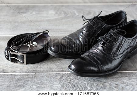 Men modern fashion. Classic leather shoes, belt and sunglasses