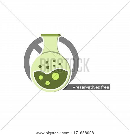Preservatives free food or cosmetics label. Vector illustration in flat design and eco-style colors. Icon of a flask, crossed by