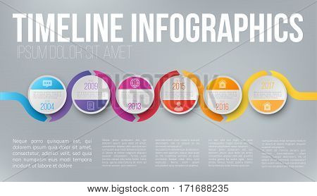 Wave form colorful business timeline infographic. Template of company history with circle and wobble line for presentation, prints, web and posters
