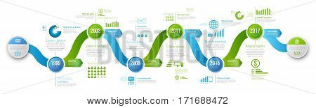 Green and blue colored wobble template business concept wave timeline arrows. Infographics layout with 6 steps, workflow history with diagram, presentation and graph