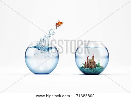 Goldfish leaping in an aquarium with a castle. Improvement and progress concept. 3D Rendering