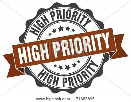 High Priority. Stamp. Sign. Seal. Round. Retro. Ribbon