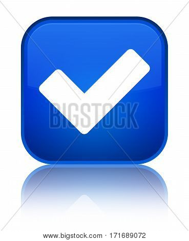 Validate Icon Shiny Blue Square Button