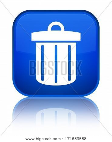 Recycle Bin Icon Shiny Blue Square Button