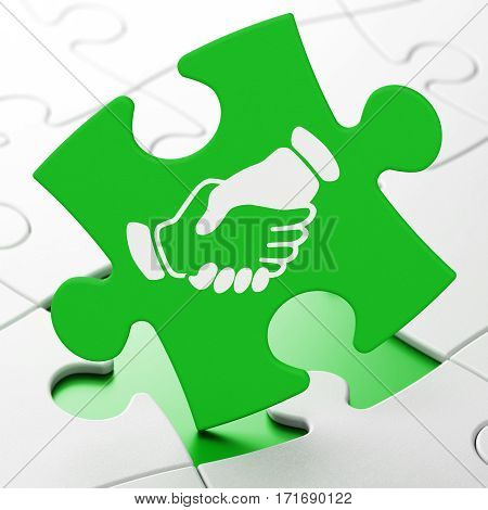 Politics concept: Handshake on Green puzzle pieces background, 3D rendering