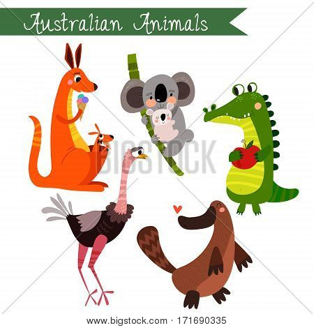 Australian Animals Vector Illustration.vector Set. Isolated On White Background. Australian  Animals