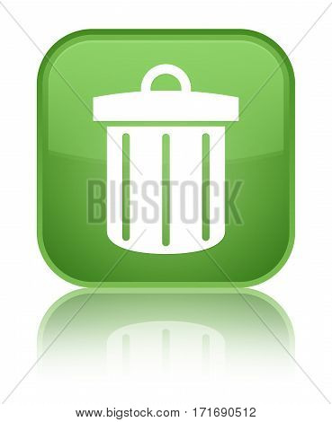 Recycle Bin Icon Shiny Soft Green Square Button