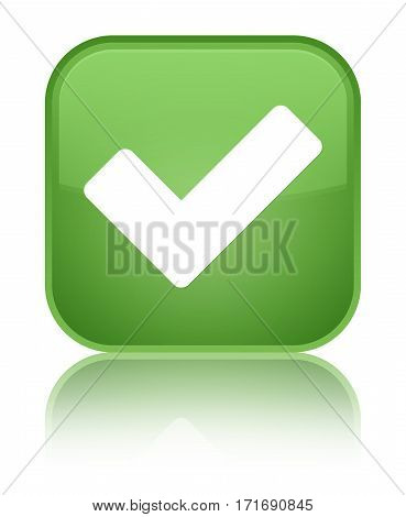 Validate Icon Shiny Soft Green Square Button