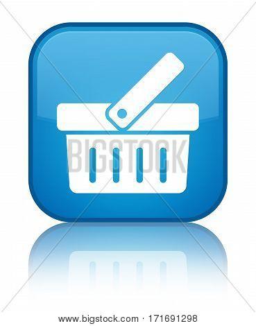 Shopping Cart Icon Shiny Cyan Blue Square Button