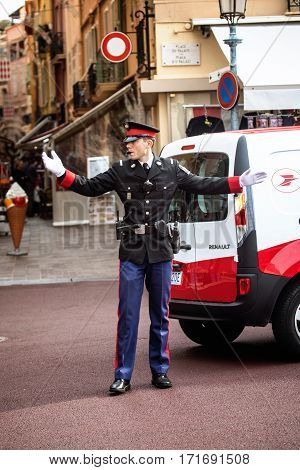 Monaco Monaco-Ville - November 4 2016: A policeman on duty in the street of Monaco-Ville.