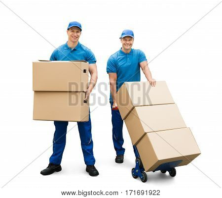 Two Delivery Men With Cardboard Boxes On White Background