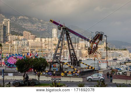Monaco Monte Carlo - November 4 2016: Amusement park infront of densely populated district of Monaco which is the second smallest and the most densely populated country in the world.