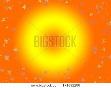 bright sun and falling leaves around it in autumn