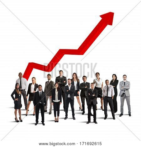 Businesspeople of successful company gathered with background arrow upwards