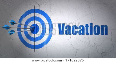 Success entertainment, concept: arrows hitting the center of target, Blue Vacation on wall background, 3D rendering