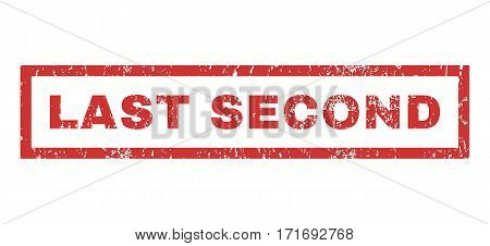 Last Second text rubber seal stamp watermark. Caption inside rectangular shape with grunge design and scratched texture. Horizontal vector red ink emblem on a white background.