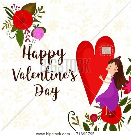 Happy Valentines Day Card With Girl And Flowers- Stock Vector