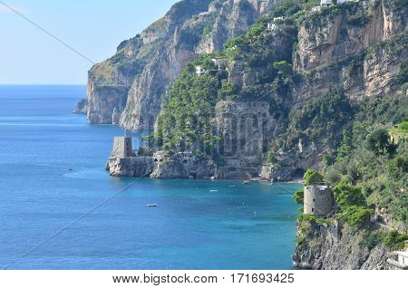 Rocky coast and a beautiful seascape of the Amalfi Coast in Italy.