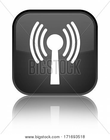 Wlan Network Icon Shiny Black Square Button
