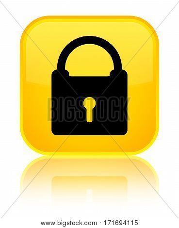 Padlock Icon Shiny Yellow Square Button