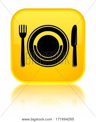 Food Plate Icon Shiny Yellow Square Button