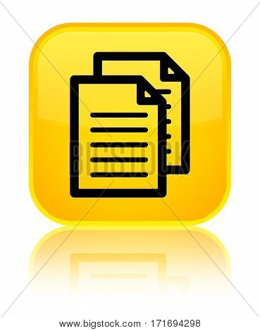 Documents Icon Shiny Yellow Square Button