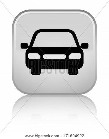 Car Icon Shiny White Square Button
