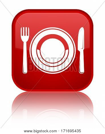 Food Plate Icon Shiny Red Square Button
