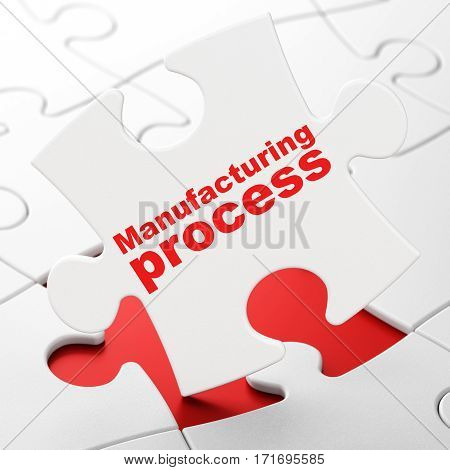 Industry concept: Manufacturing Process on White puzzle pieces background, 3D rendering