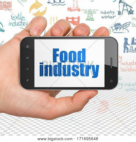 Manufacuring concept: Hand Holding Smartphone with  blue text Food Industry on display,  Hand Drawn Industry Icons background, 3D rendering