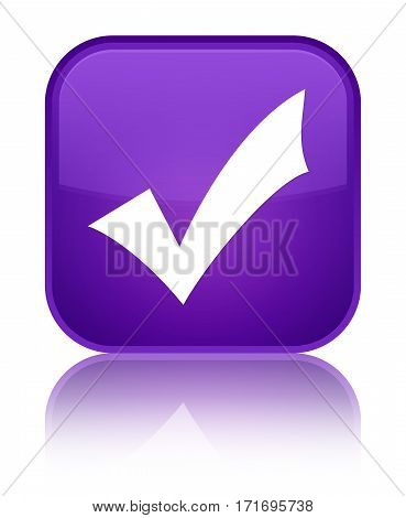 Validation Icon Shiny Purple Square Button
