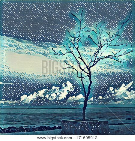 Digital illustration - Lonely tree on the sea shore. Silhouette of lifeless tree on the beach. Watercolor and etching style of ocean view. Poster banner template or print background. Conceptual image